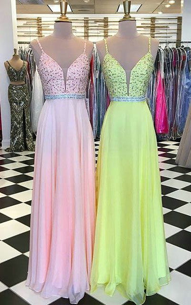 2020 Long Prom Dresses with Beading,Sweet 16 Dress, Pageant Dress, Wedding Party Dress PDS1092