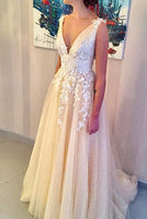 V-neck Tulle Long Prom Dress With Applique Wedding Dress Formal Dress PDS0470