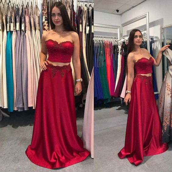 Sweetheart Two Pieces Long Prom Dress,Fashion Winter Formal Dress, Wedding Party Dress PDS0957