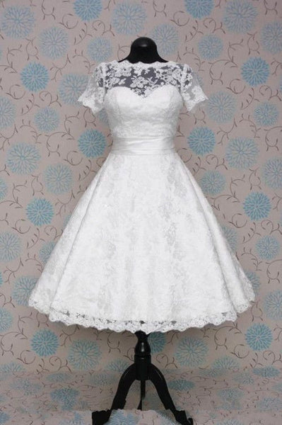 A-line Real Photo Wedding Dress with Sleeves,Popular Short Wedding Dress, Lace Wedding Reception Bridal Dress BDS0009