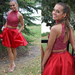 Two Piece Beading Homecoming Dress , Short Prom Dress  PDS0155