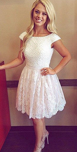 Short Lace Homecoming Dress With Pearls ,Short Wedding Dress, Prom Dresses Cocktail Dresses Graduation Dresses PDS0311