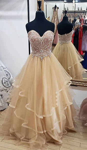 Sweetheart Long Prom Dresses with Beading ,Sweet 16 Dress, Pageant Dress, Wedding Party Dress PDS1126