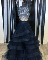 Fashion Two Piece Long Prom Dress Ball Gown 2018 Wedding Party Dress Formal Evening Gowns PDS0434