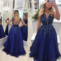 Royal Blue Long Prom Dress with Applique and Beading Wedding Party Dress Formal Dress PDS0641