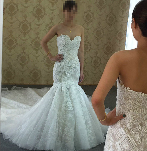 Sweetheart Mermaid Lace Wedding Dress with Applique and Beading,Fashion Bridal Dresses, Custom Made Wedding dress BDS0629