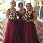 Fashion Long Bridesmaid Dress,Popular Wedding Party Dress,Appliqued Long Prom Dress  PDS0027
