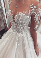 Ball Gown Wedding Dress with Sleeves, Fashion Custom Made Bridal Dresses, Plus Size Wedding dress BDS0660
