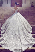 Handmade Off the Shoulder Ball Gown Wedding Dress With Applique Cheap Bridal Dresses BDS0310