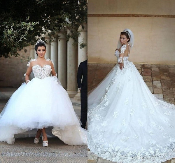 ec81556e5a7 Fashion Lace Tulle Wedding Dress Ball Gown With Removable Train ...