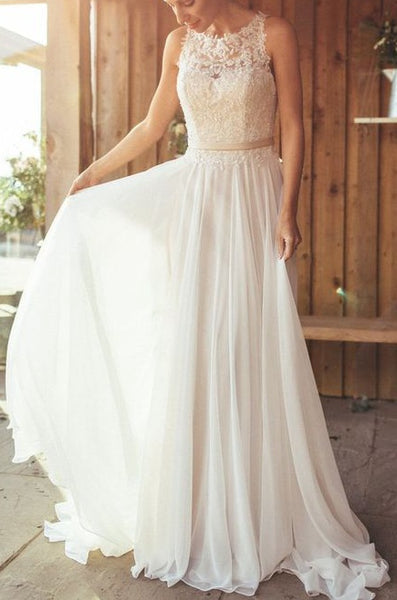 A-line Appliqued Wedding Dress ,Popular Beach Wedding Dresses, Fashion Bridal Dress BDS0185