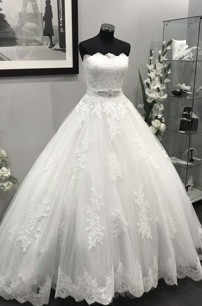 Strapless Ball Gown Wedding Dress Appliqued Bridal Dresses Vestidos de Novia BDS0583
