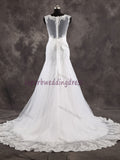 V-neck Mermaid Real Photo Wedding Dress,Popular Bridal Dress With Appliques and Beadings BDS0002