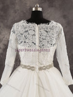 A-line Real Photo Ball Gown Wedding Dress With Sleeves ,Popular Bridal Dress With Applique and Beadings BDS0003