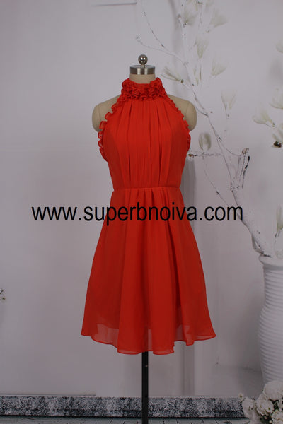 A-line Real Photo Homecoming Dress,Short Party Dress,Backless Short Chiffon Bridemaid Dresses PDS0078