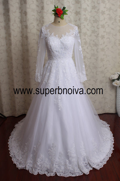 A-line Real Photo Ball Gown Wedding Dress With Sleeves ,Popular Bridal Dress With Applique BDS0058