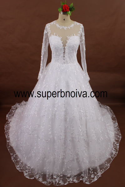 Real Photo Lace Ball Gown Wedding Dress With Sleeves ,Popular Bridal Dress BDS0059