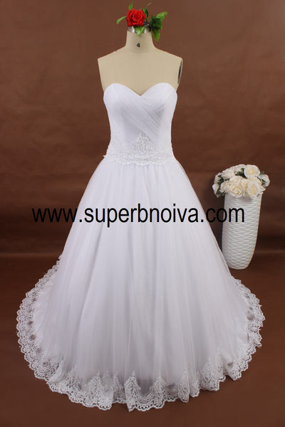 A-line Tulle Real Photo Tulle Ball Gown Wedding Dress With Applique ,Popular Bridal Dress BDS0060