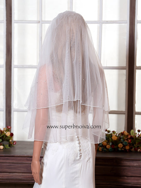 Wedding Short Veil Beaded Wedding Veil LV06