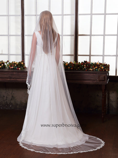 Wedding Large Veil Lace Veil Cathedral Wedding Veil LV05