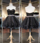 Black A-line Short Beading Homecoming Dress , Short Prom Dress, PDS0052