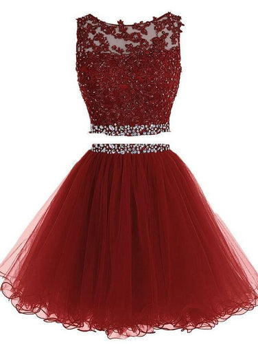 Burgundy Two Piece Short Beading Homecoming Dress , Short Prom Dress, PDS0053