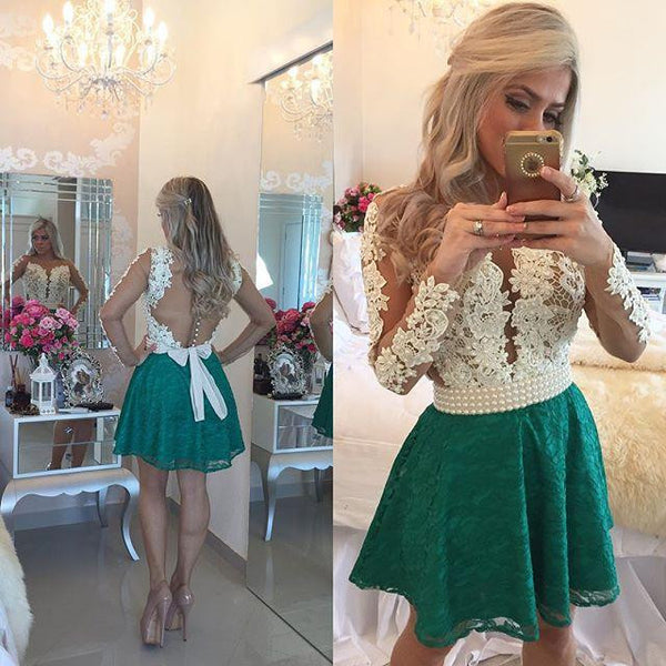 A-line Lace Homecoming Dress with Applique, Short Prom Dress with Long Sleeves, PDS0071