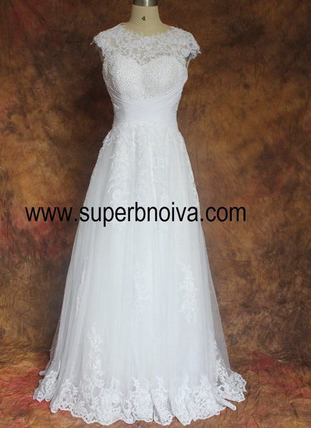 A-line Real Photo Beaded Wedding Dress,Popular Bridal Dress With Appliques BDS0090
