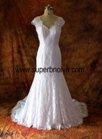 V-neck Mermaid Lace Real Photo Wedding Dress,Popular Bridal Dress With Pearls BDS0094