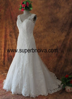 V-neck Mermaid Real Photo Wedding Dress ,Popular Bridal Dress With Applique And Beading BDS0096
