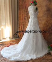 Appliqued Lace Real Photo Wedding Dress ,Popular Bridal Dress With BDS0098