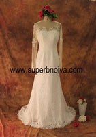 A-line Real Photo Lace Wedding Dress With Sleeves ,Popular Bridal Dress With Applique BDS0100