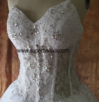 Appliqued Lace Real Photo Wedding Dress ,Popular Bridal Dress With Beading BDS0102