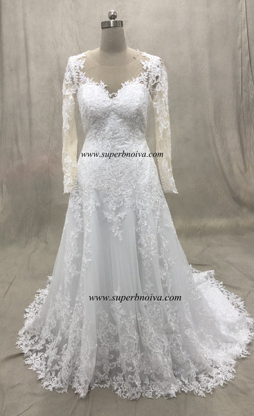 Long Sleeves Real Photo Wedding Dress Bridal Dresses With Applique and Beading ,Vestidos de Novia BDS0352