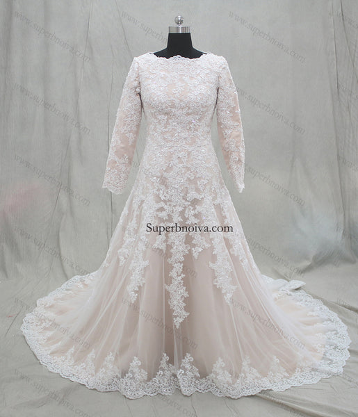 Plus Size Real Photo Wedding Dress With Long Sleeves Fashion A-line Appliqued Bridal Dresses Vestidos de Novia BDS0551