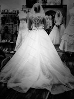 V Neck Lace and Tulle Wedding Dress Bridal Gown with Beads and Crystal Sash ,Real Photo Bridal Wedding Gown BDS0593