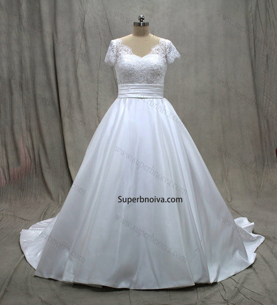 Fashion Satin/Lace Ball Gown Wedding Dress With Short Sleeves Real Photo Bridal Dresses Vestidos de Novia BDS0570
