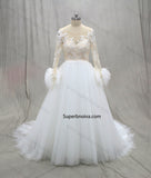 A-line Tulle/Lace Real Photo Wedding Dress Long Sleeves Bridal Dresses Vestidos de Novia BDS0573