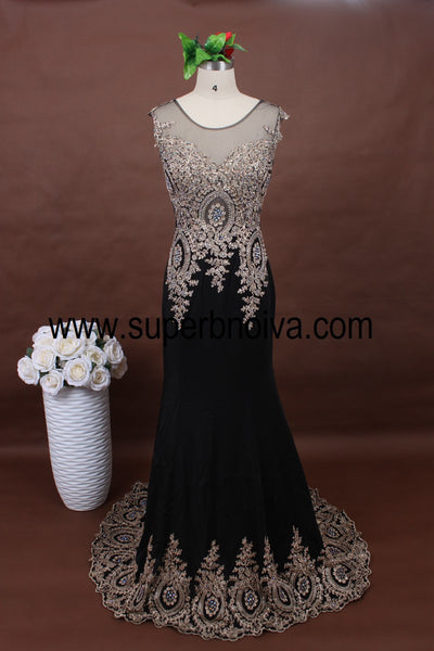 Black Mermaid Long Prom Dress with Applique And Beading,Popular Real Photo Wedding Party Dress,Fashion Evening Dresses PDS0105