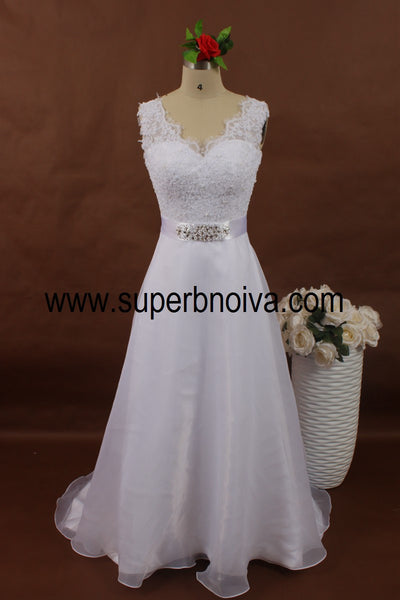 V-neck A-line Real Photo Wedding Dress With Applique ,Popular Bridal Beach Wedding Dress BDS0061