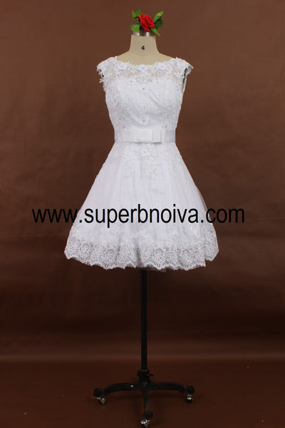 A-line Appliqued Short Wedding Dress, Real Photo Wedding Reception Bridal Dress BDS0063