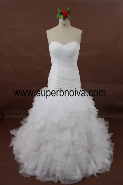 Sweetheart Mermaid Real Photo Tulle Wedding Dress ,Popular Bridal Dress BDS0064