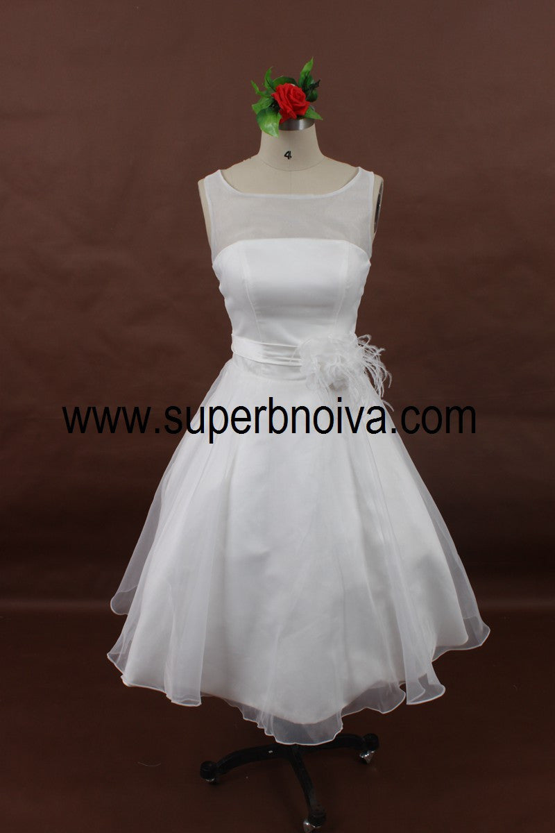 A-line Short Wedding Dress, Real Photo Wedding Reception Bridal Dress BDS0065