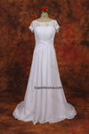 A-line Lace/Chiffon Beach Wedding Dress With Short Sleeves Real Photo Beach Bridal Dress BDS0567