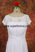 Open Back Real Photo Beach Wedding Dress ,Popular Chiffon Beach Bridal Dress BDS0106