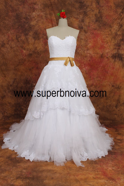 Appliqued Real Photo  Ball Gown Wedding Dress ,Popular Bridal Dress  BDS0107