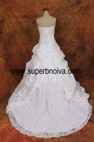 2 in 1 Sleeveless A-line Wedding Dress,Lace Up Back Bridal Dress SN0492