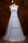 Strapless Lace/Tulle Beach Wedding Dress Real Photo Beach Bridal Dress BDS0568