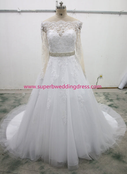 Off the Shoulder Real Photo Ball Gown Wedding Dress , Fashion Bridal Dress BDS0264