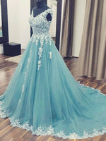 V-neck Tulle Ball Gown Wedding Dress with Applique Bridal Dresses BDS0322